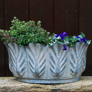 Victoriana medium oval metal leaf garden planter