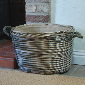 Cornbury grey oval willow lined log basket