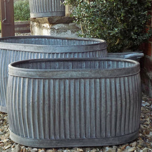 Medium vintage style galvanised oval dolly planter tub