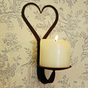 Wrought iron heart wall sconce candle holder