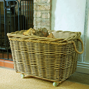Extra Large rectangular hessian lined mill wheelie log basket