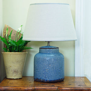 Powder rustico ceramic table lamp with cream lampshade