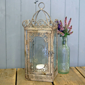 Napoli design grey shabby chic storm lantern candle holder