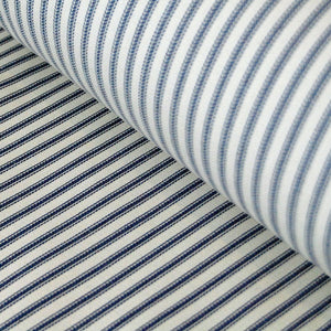 Woven navy cotton ticking fabric