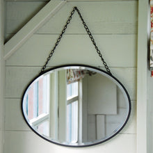 Petersham vintage oval metal bevelled hanging wall mirror