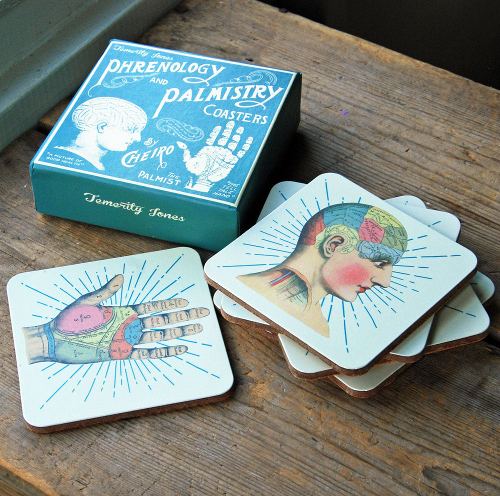 Boxed set of six phrenology drinks coasters