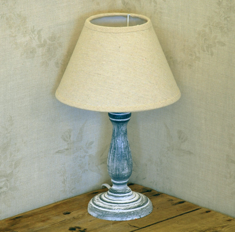 Blythe lamp base with natural linen shade