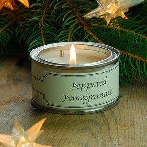 Pintail scented candle filled tin peppered pomegranate fragrance