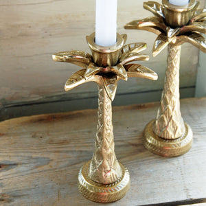 Gold palm tree candlestick