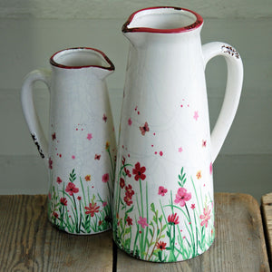 Small vintage style stoneware pink antique flowers jug