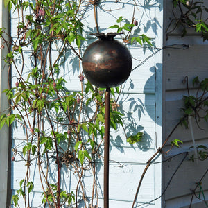 Steel poppy seed head plant stake