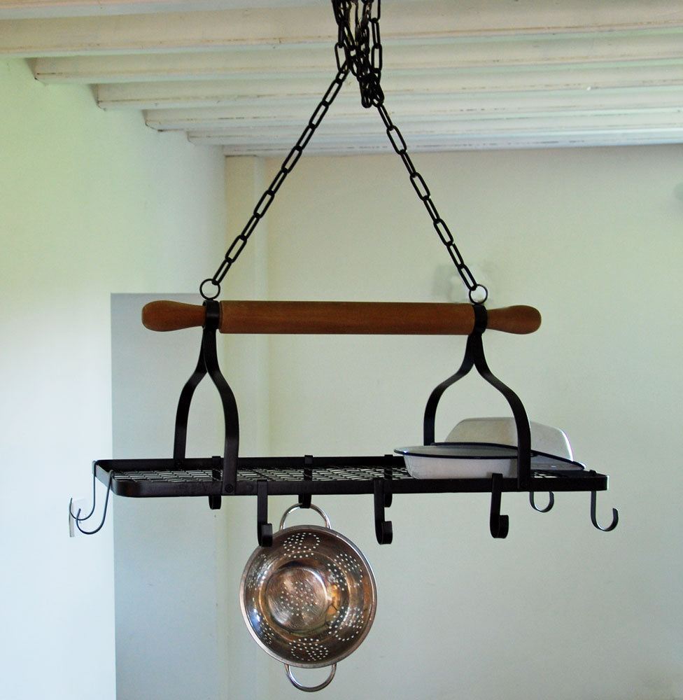 Antique style rolling pin kitchen pot hanger rack
