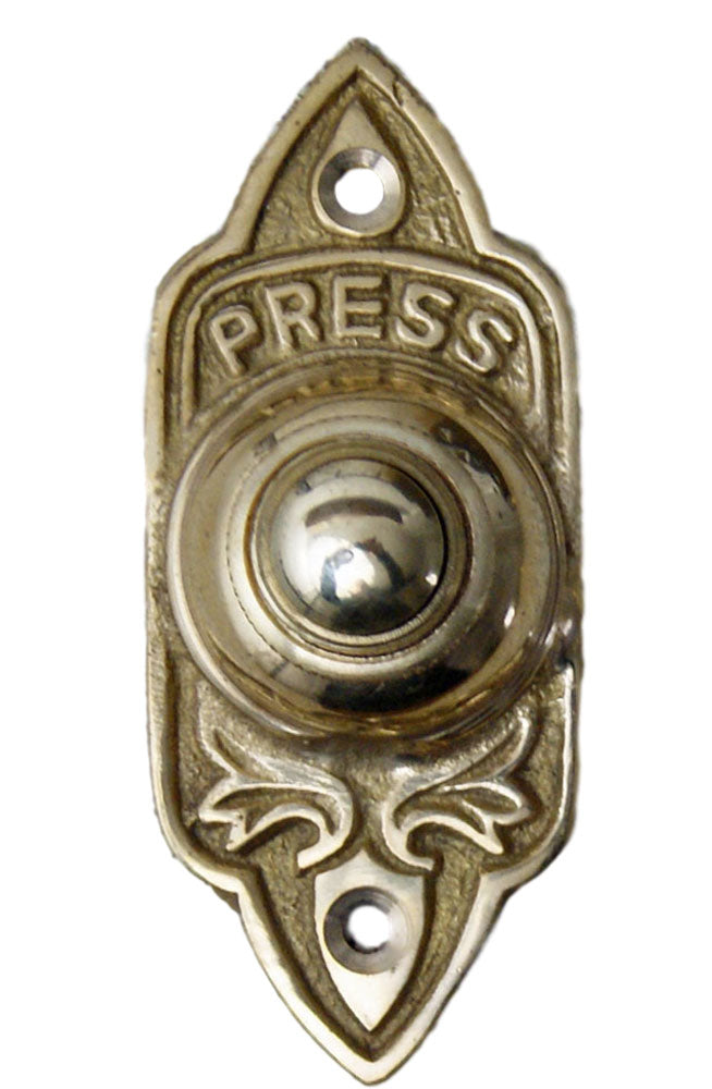 Antique York brass press push door bell