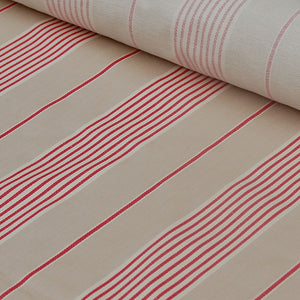 Traditional cotton herringbone red march stripe fabric