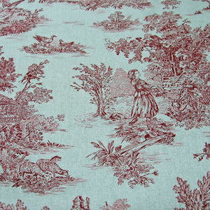 Classic French period red toile de jouy cotton fabric