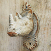 Antique finish cast metal single rhino wildlife wall hook