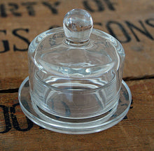 Small round glass bell jar domed butter dish