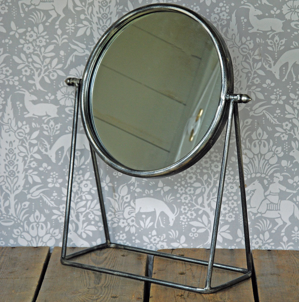 Cambridge round pewter dressing table mirror