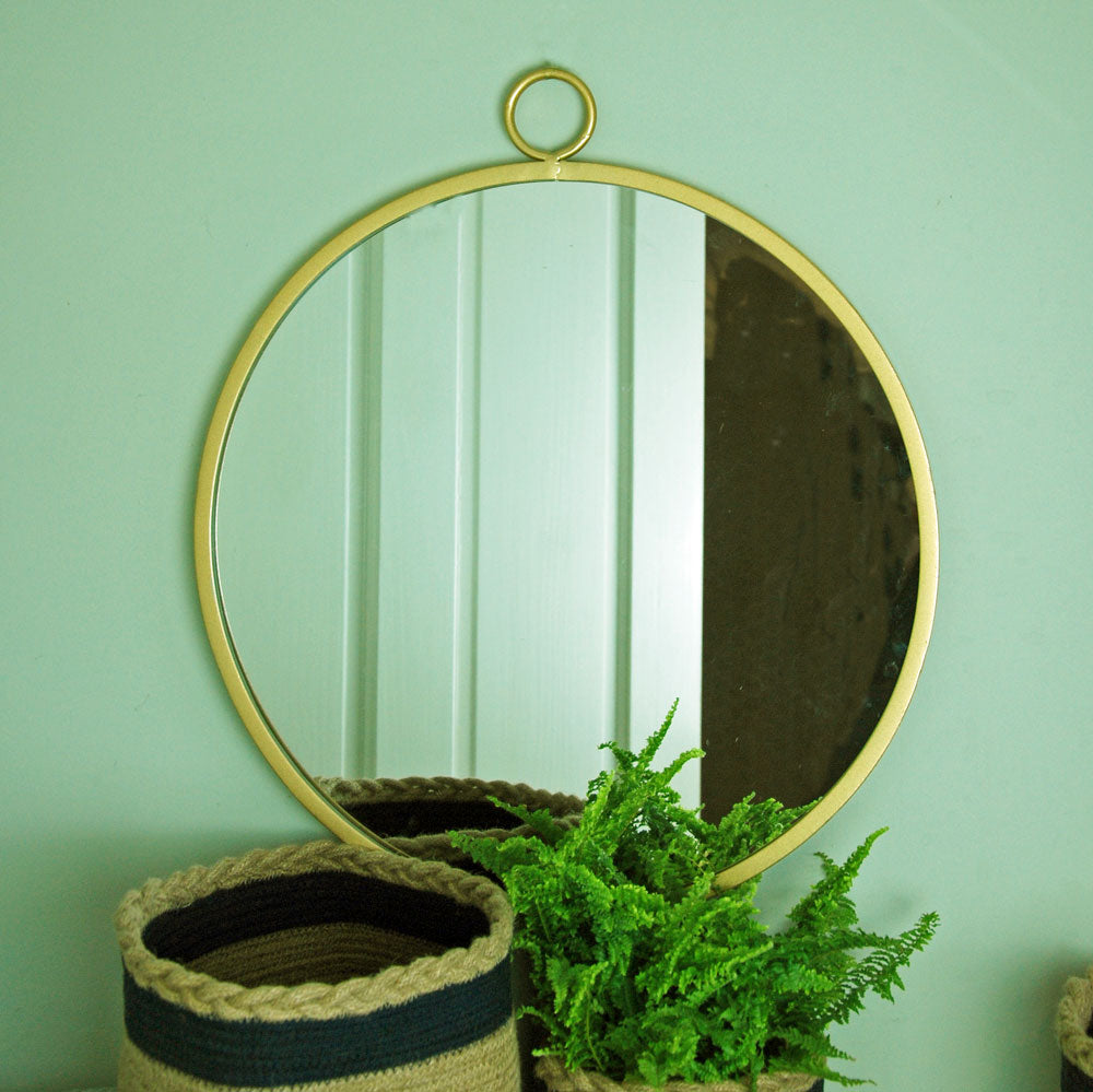 Hoxton gold flat round metal wall mirror