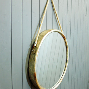 Round porthole style vintage mirror with rope hanger