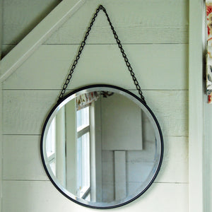 Petersham round metal bevelled hanging mirror