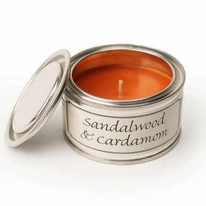 Pintail scented candle filled tin Sandalwood and cardamon fragrance