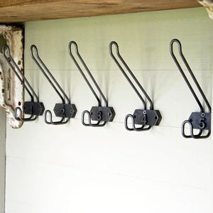 Set of five retro vintage school style coat hooks