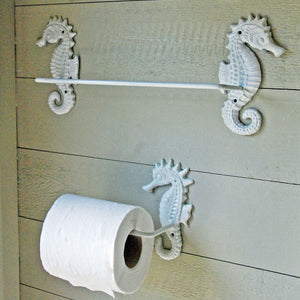 Sea horse white metal bathroom toilet roll holder