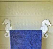 Sea horse white metal bathroom towel rail