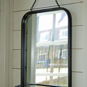 Arnhem black metal mirror with shelf