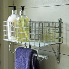 Wall mounted retro Cambridge wire shelf unit with rail