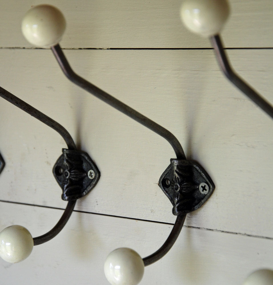 Set of 6 antique cast rosette double coat wall hooks cream finish