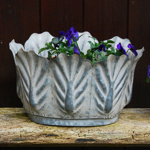 Victoriana small oval metal leaf garden planter