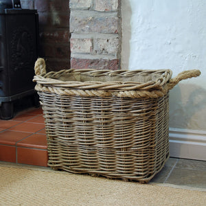 Small mill log basket rope handled deep set rectangular hessian lined