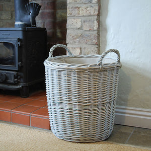 Small Provence tall washed willow log basket
