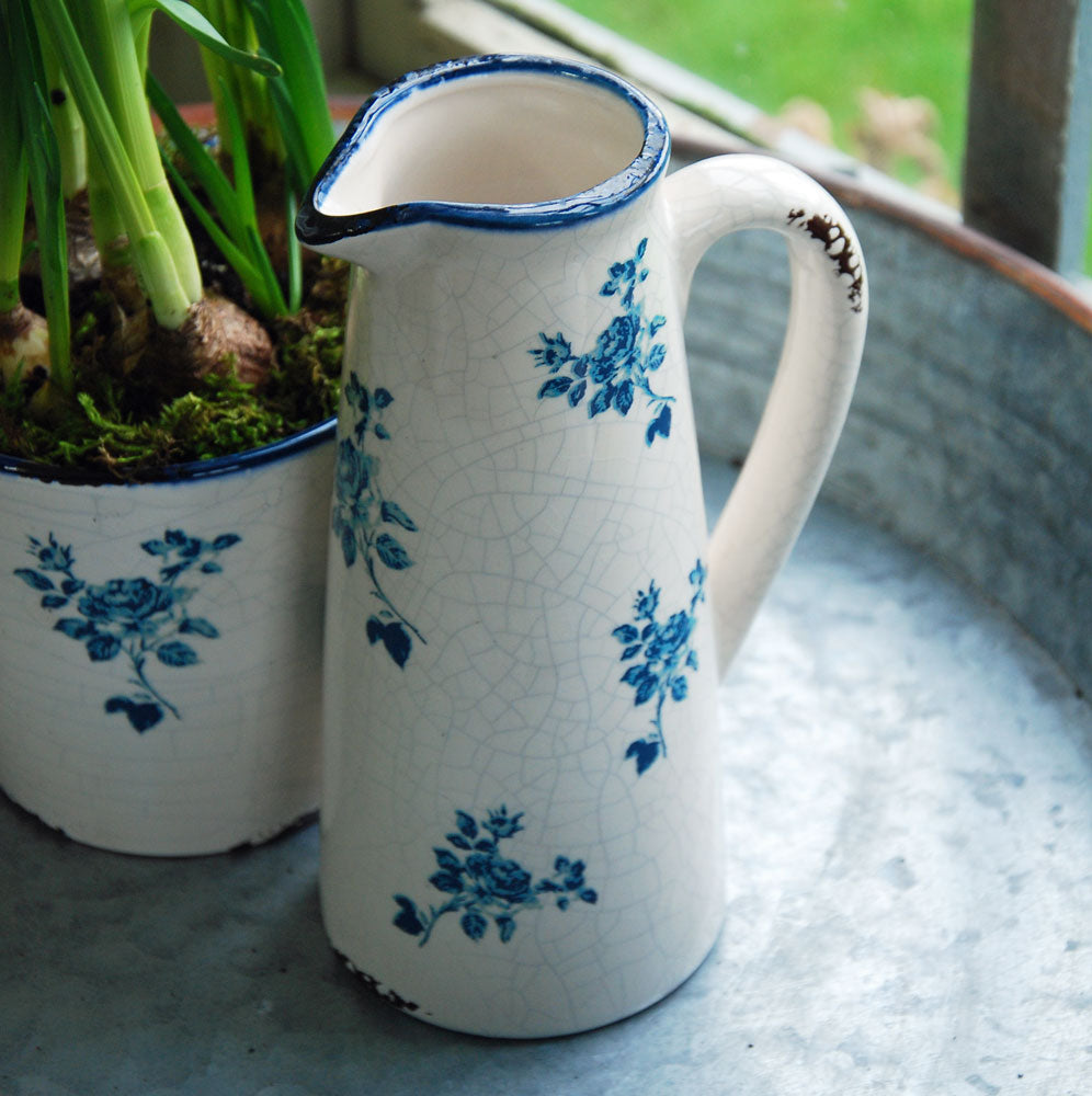 Small vintage style stoneware blue antique rose jug