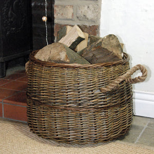 Small round Morpeth natural willow rope handled log basket