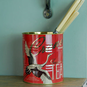 Small Crane tea kitchen planter tin
