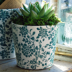 Small Barnsley terracotta cache pot green botanical print