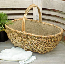 Small Heathfield willow garden hessian lined  trug basket