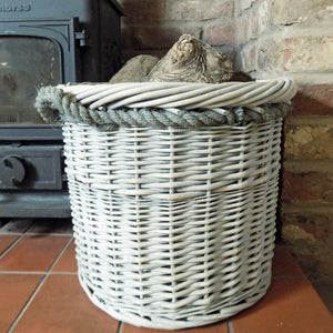 Small Copenhagen hessian lined willow log basket with rope handles