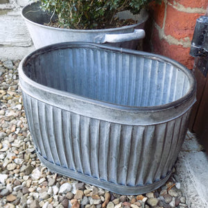 Small old fashioned galvanised oval dolly planter tub