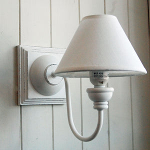French white wooden square wall light with cotton coolie shade