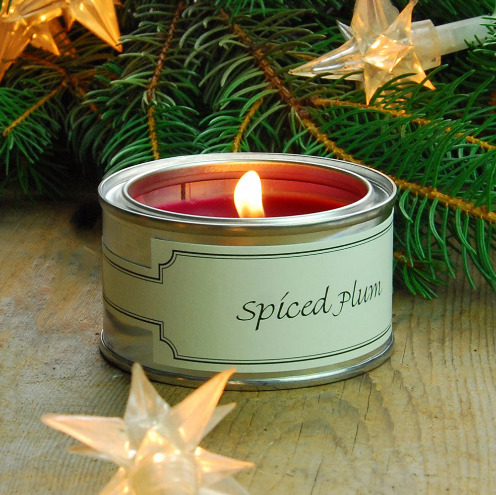 Pintail scented candle filled tin Spiced plum fragrance