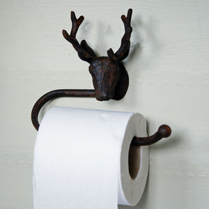 Antique Highlands Stag cast metal wall mounted toilet roll holder