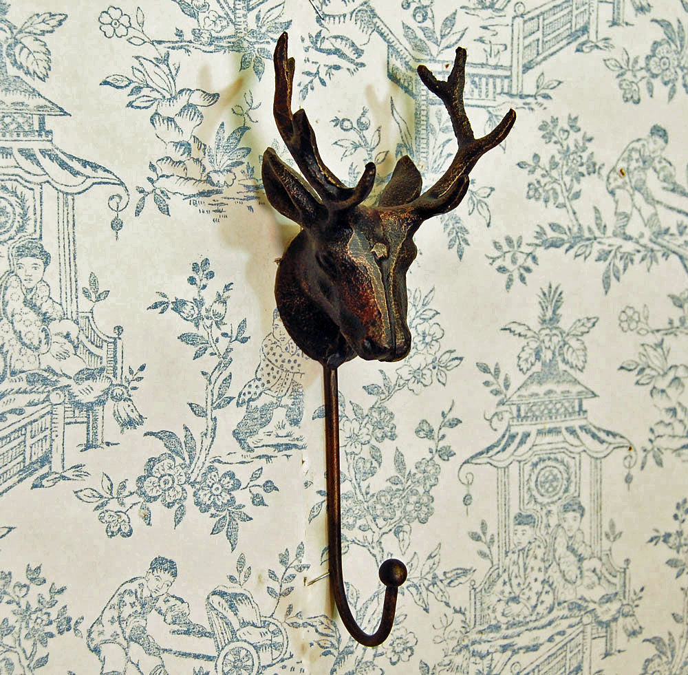 Cast iron antique style coat & hat hook stag head design