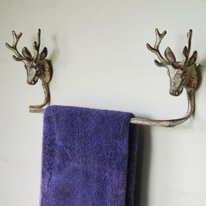 Vintage finish Highlands Stag cast metal wall mounted towel rail