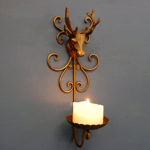 Stag head iron wall mounted candle holder sconce