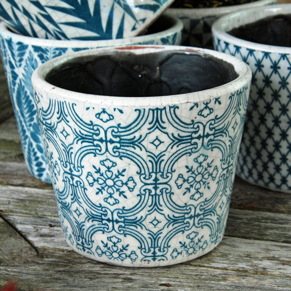 Vintage Dutch terracotta teal tile print glazed flower pot