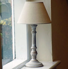 Tenby wooden table lamp with linen shade
